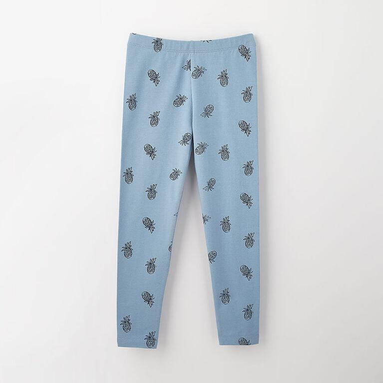 3-4 ans legging en coton biologique - imprimé bleu pâle