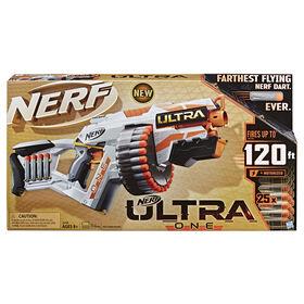 Nerf Ultra One Blaster motorisé -- Conception d'avant-garde, barillet haute capacité, 25 fléchettes Nerf Ultra officielles -- la fléchette qui vole encore plus loin