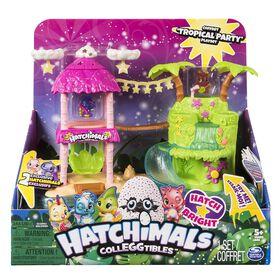 Hatchimals CollEGGtibles - Coffret Tropical Party avec effets sonores et lumineux et figurine Hatchimals CollEGGtible Saison 4 exclusive