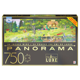 Big Ben 750-Piece Luxe Panorama Jigsaw Puzzle, Cabin on the Lake