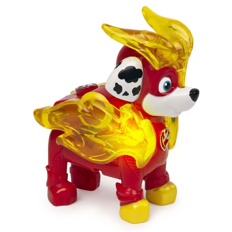 PAW Patrol, Mighty Pups Prêt à foncer, Figurine Marcus à collectionner avec uniforme lumineux