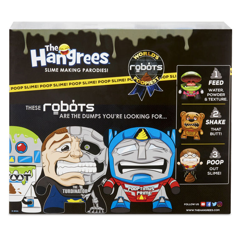 Figurines Parodie The Hangrees World's Poopiest Robots à collectionner, paquet de 3 avec gelée