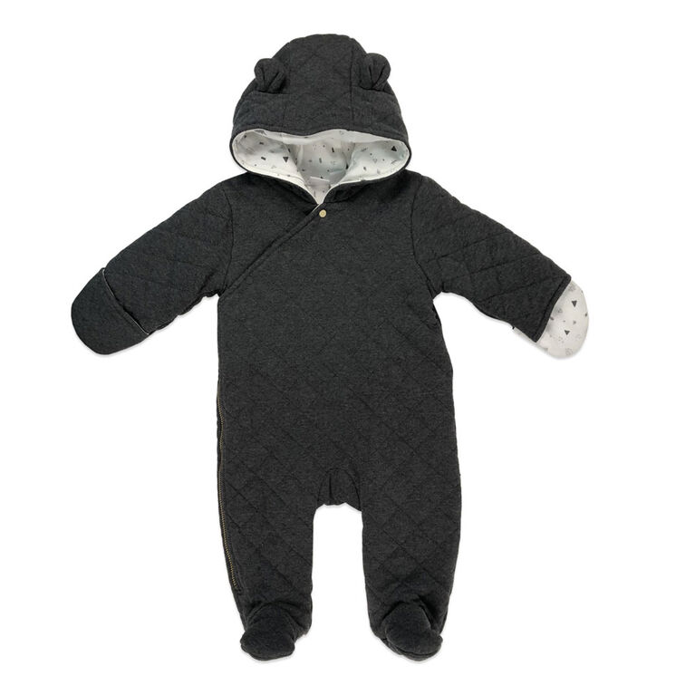 Rococo Quilted Pramsuit - Grey, 0-3 Months