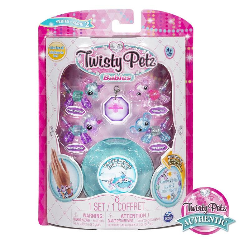 Twisty Petz, Series 2 Babies 4 Pack, Unicorns & Koalas Collectible Bracelet & Case (Blue)