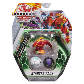 Starter Pack Bakugan, Coffret de 3, Sharktar Ultra, Figurines articulées Geogan Rising à collectionner