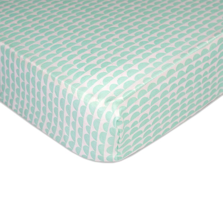 Lolli Living - Sparrow - Fitted Sheet - Mint Scallop