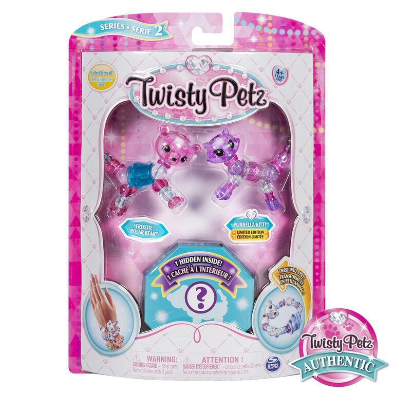 Twisty Petz, Series 2 3-Pack, Frostie Polar Bear, Purrela Kitty and Surprise Collectible Bracelet Set