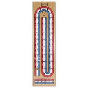 3 Lane Wood Cribbage Game Board