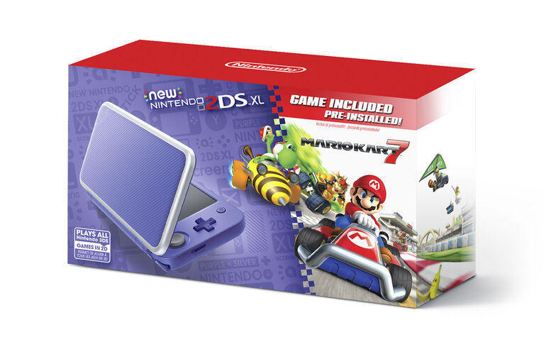 2DS - New Nintendo 2DS XL - Purple + Silver w/ Mario Kart 7 Pre-installed