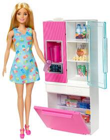 Poupée Barbie, coffret Mobilier avec réfrigérateur doté d'un distributeur d'eau qui fonctionne vraiment
