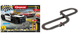 Carrera GO!!! - On The Run Complete Slot Car Racing Track Set - Chevrolet Camaro ZL1 Sheriff versus '67 Ford Mustang