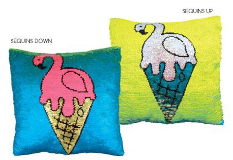 Style Lab Magic Sequin Reveal Pillow - Flamingo