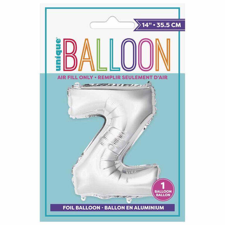 """Ballons en forme de lettre en argent 14 """" - Z"""