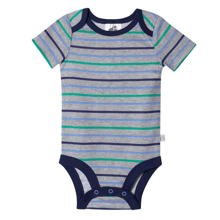 Lot de quatre maillots biologiques Onesies à manches courtes pour nouveau-né garçon – Petit Dino nouveau-né