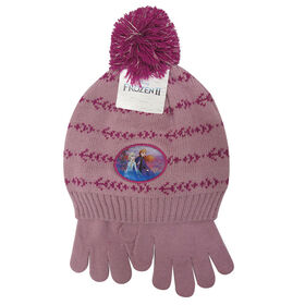 Disney - Frozen II - Girls lurex pompom toque and matching gloves - Pink