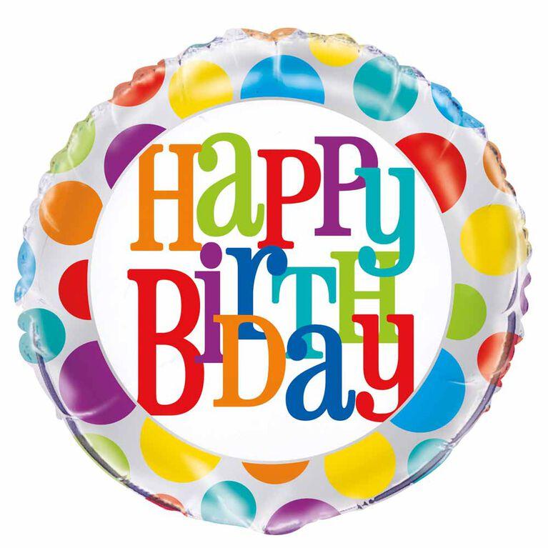"""Ballon aluminium rond, 18 """" - Rainbow Polka Dot Birthday - Édition anglaise"""