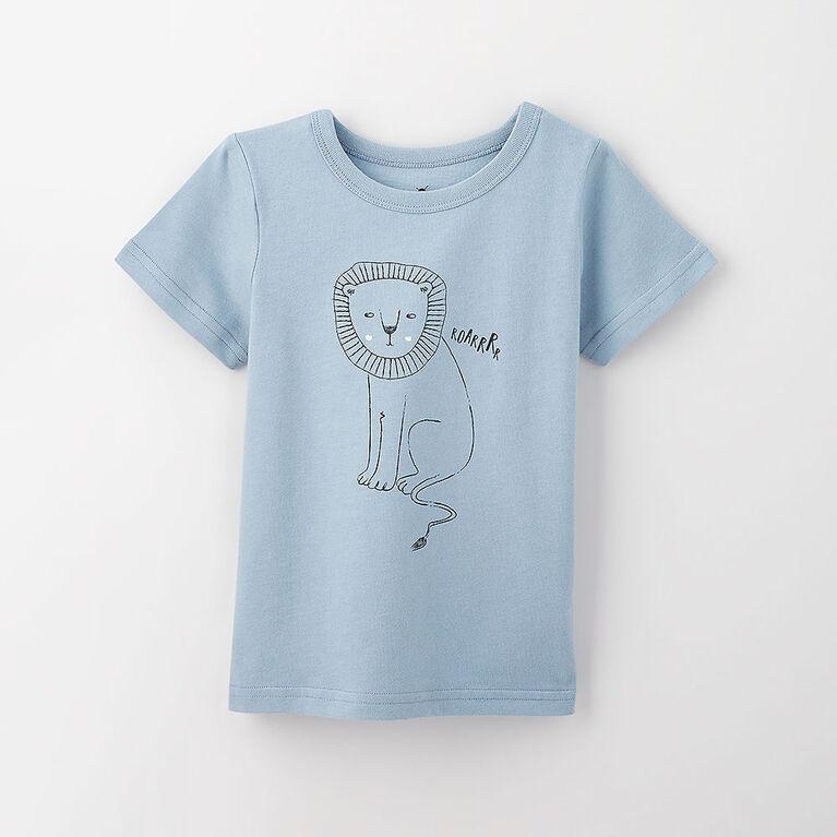 12-18m t-shirt imprimé à manches courtes - bleu pâle