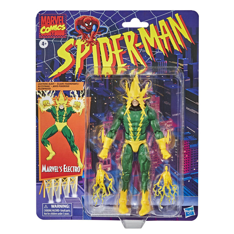 Hasbro Marvel Legends Series Spider-Man: 6-inch Collectible Marvel's Electro Action Figure Toy Retro Collection