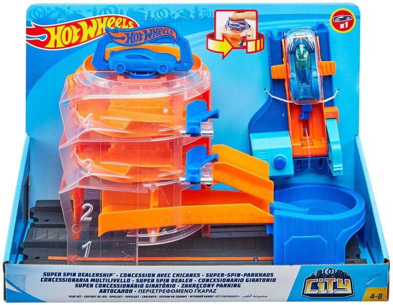 Hot Wheels City Super Spin Dealership Playset