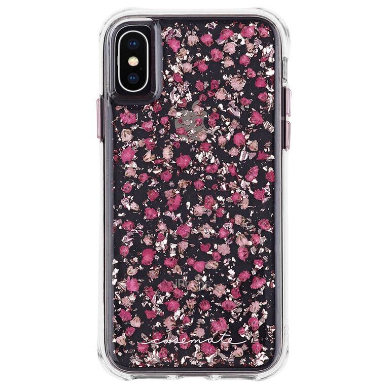 Étui rigide ajusté Karat de Case-Mate pour iPhone Xs/X, rose fleur ditsy