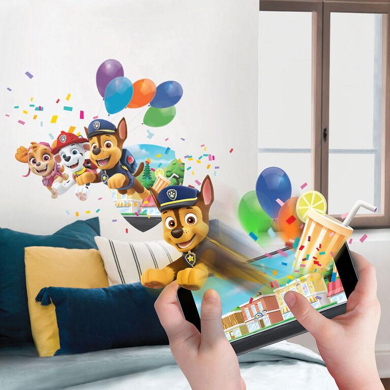 Adhésif mural avec réalité augmentée (inclus appli gratuite) - Wallstories/Pat'Patrouille - La fête dans la Grande Vallée