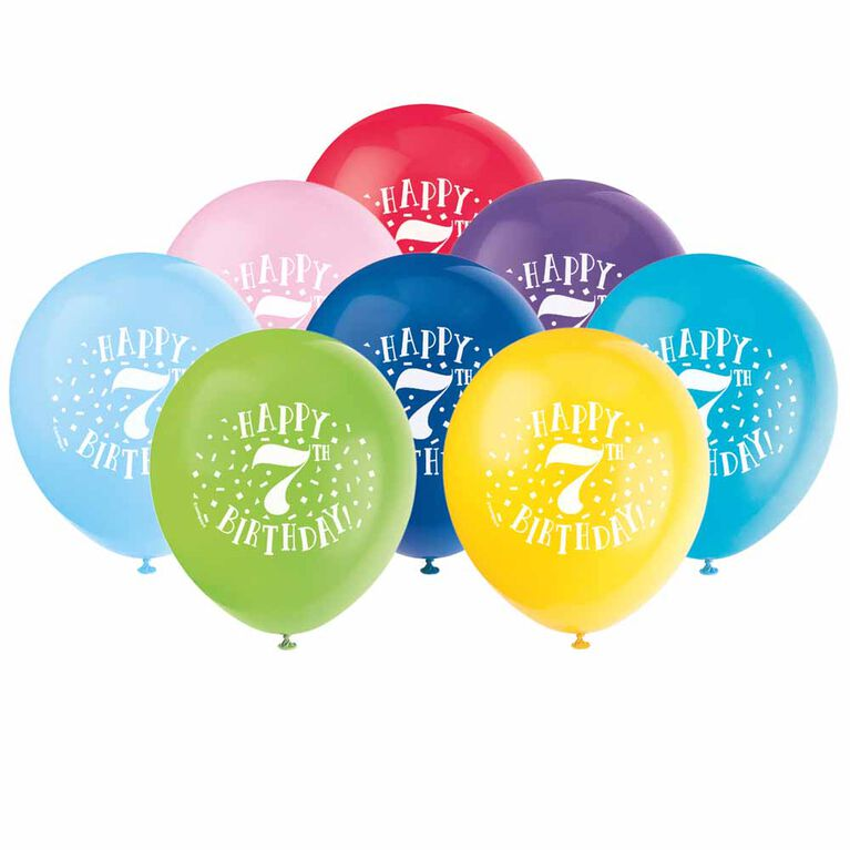"Fun ''Happy 7th Bday'' 12"" Latex , 8 pieces - English Edition"