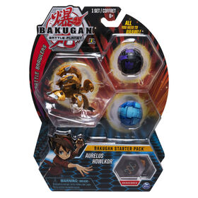 Bakugan Starter Pack 3-Pack, Aurelus Howlkor, Collectible Transforming Creatures