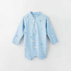 wavy baby rashguard shorty, 18-24m - light blue