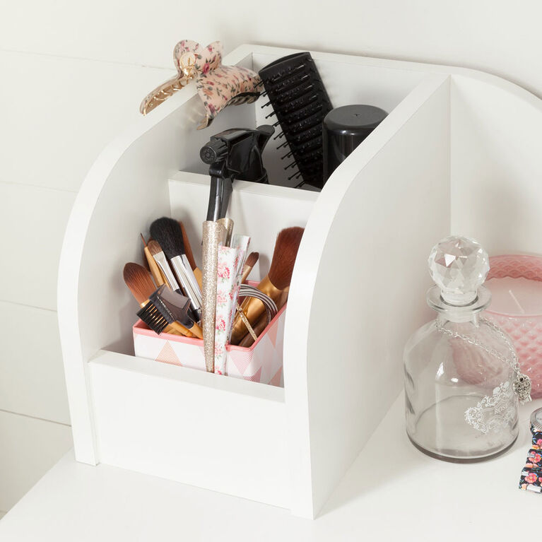 Vito Makeup Desk with Drawer- Pure White and Pink