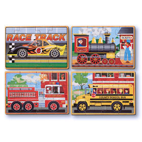 Melissa & Doug Vehicles 4-in-1 Wooden Jigsaw Puzzles in a Storage Box 48 Pieces