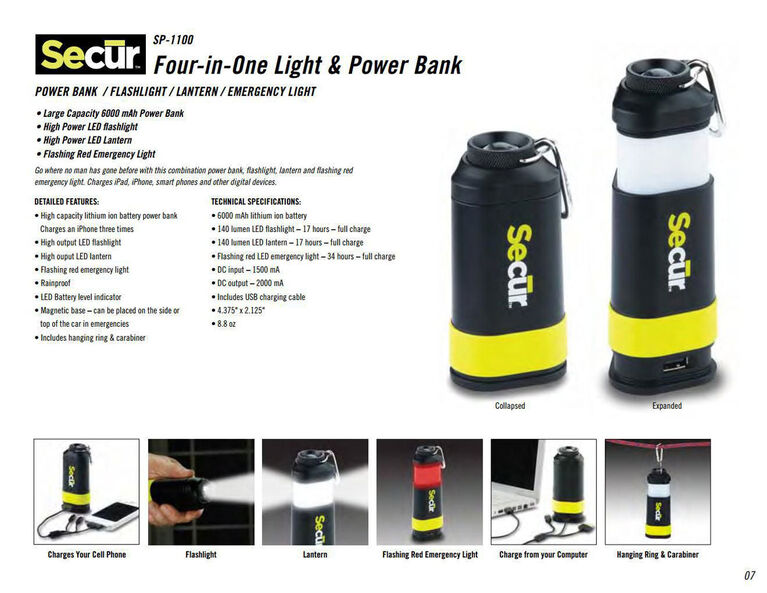 Secur 4-in-1 Light & Power Bank