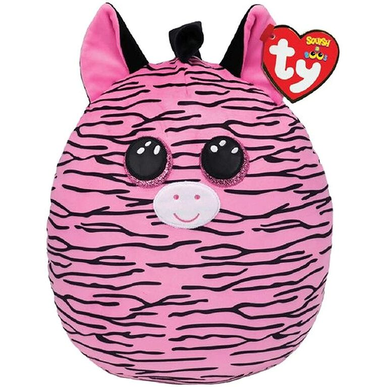 Ty Squish Zoey Pink And Black Striped Zebra 14 inch