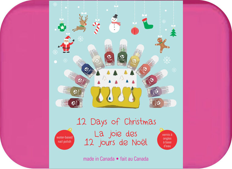 12 Days Of Christmas water-based, peel-off nail kit