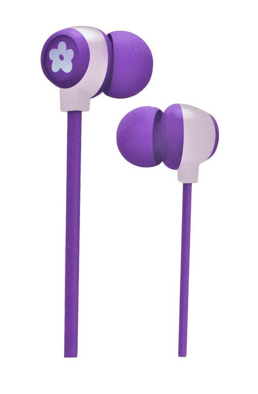 Écouteurs Bluetooth scintillants pour filles - violet