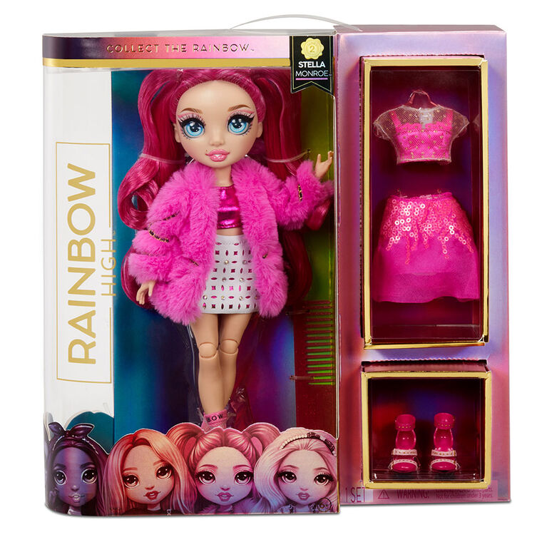 Rainbow High Stella Monroe - Fuchsia (Hot Pink) Fashion Doll with 2 Complete Mix & Match Outfits