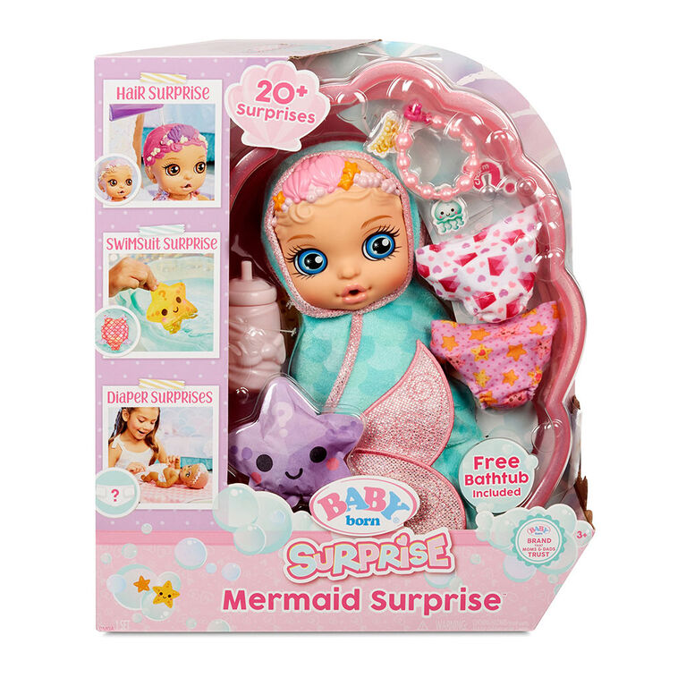 BABY born Surprise Mermaid Surprise - Baby Doll with Teal Towel with 20+ Surprises