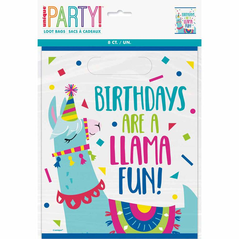 E-Llama Birthday Loot Bags, 8 pieces - English Edition