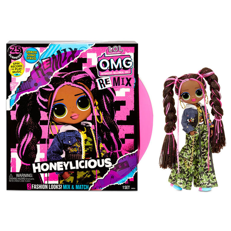 LOL Surprise O.M.G. Remix Honeylicious Fashion Doll– 25 Surprises with Music