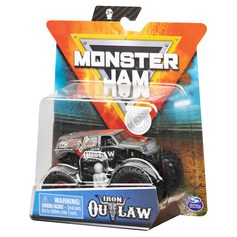 Monster Jam, Official Iron Outlaw Monster Truck, Die-Cast Vehicle, Arena Favorites Series, 1:64 Scale