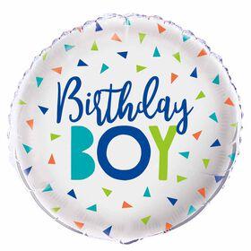 """Confetti Birthday Boy Foil 18"""" - English Edition"""