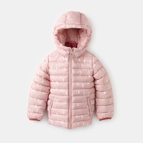 lightweight cropped puffer parka, size 5-6y - Pink