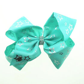 Jojo Siwa Bow - Sea Green With Silver Star Print