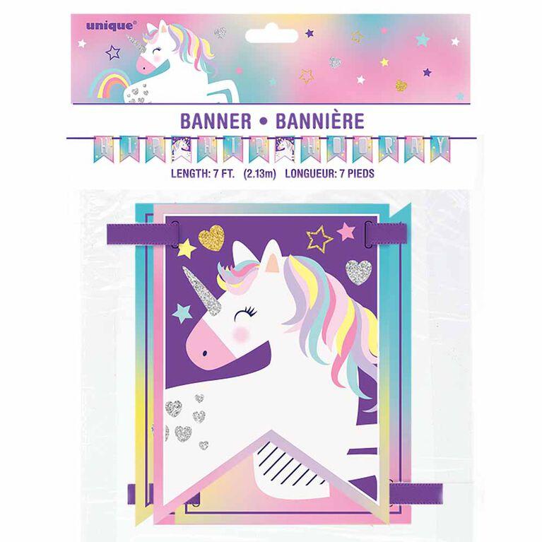 Banniere De Fanion 7Ft- Unicorn Party - Édition anglaise