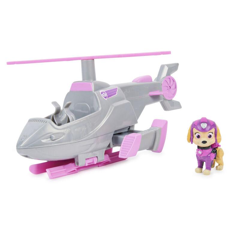 PAW Patrol, Véhicule transformable de luxe du film avec figurine Stella articulée à collectionner