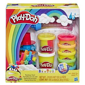 Play-Doh Ensemble Torsades arc-en-ciel avec 8 pots de pâte à modeler atoxique et pâte arc-en-ciel 3 en 1 - Notre exclusivité