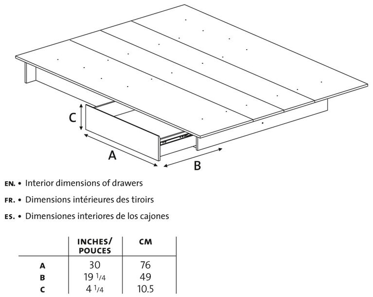 Step One Platform Bed with drawers- Pure White