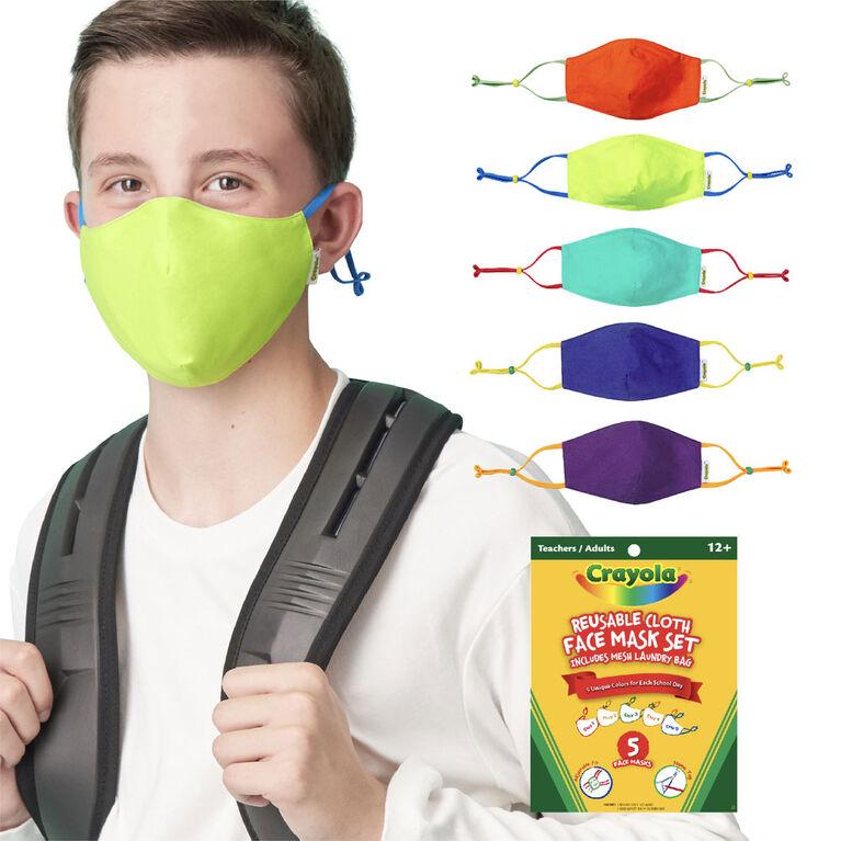 Crayola Teen/Adult Reusable Cloth Face Mask Set, Cool Colors