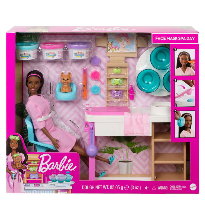 Barbie Face Mask Spa Day Playset, Brunette Barbie Doll, Puppy, Molding Toy & Dough