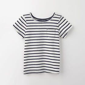simple roll-sleeve pocket tee, 18-24m - navy stripe