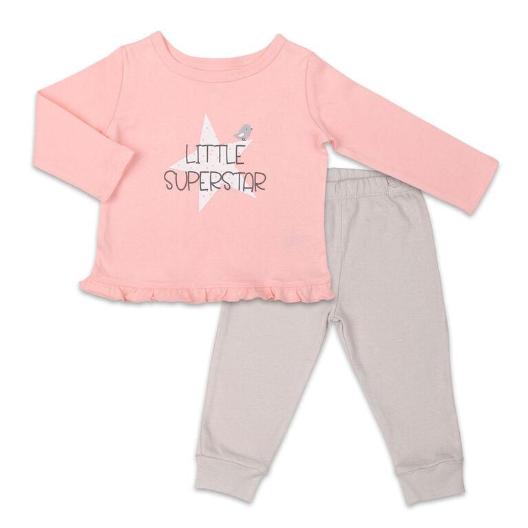 Ensemble chemise et pantalon Koala Baby Dream Girl, Little Superstar - 6-9 Mois